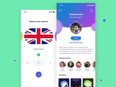 Book Exchange app  I  User Profile & Choose Country