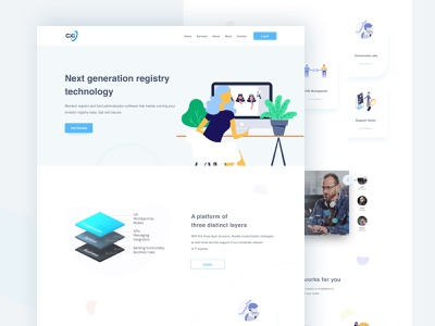 Software Company Website isometric website curve colorful animation clean homepage tech design illustration it company design software landing page software company software design