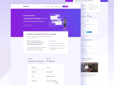 Evaluation Form  I  Landing Page top ui hospital app education home page training home page colorful design nurse doctors app medical education medical home page landing page form design evaluation form