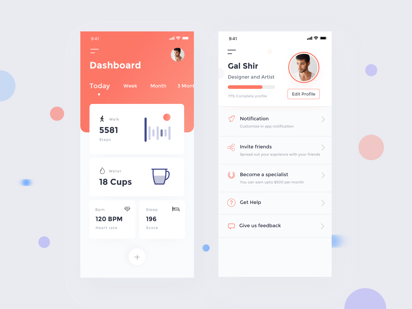 Fitness Tracking & user profile payment app tracker app onboading dashboard mobile landing page dashboard fitness app profile app user profile activity app health app tracking app