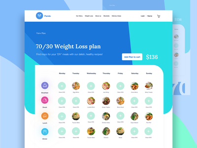 Weight Loos Plan best food website design food bank blue and yellow design meal web meals app pan app log in add to cart add to plan package package design 7030 weight loos plan app ui  ux design responsive design fitnessapp fitness web weight loos app food app food website