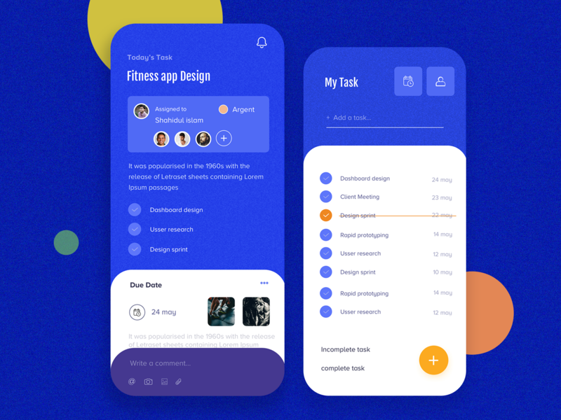 Task management app button design blue design 2020 2019 2019 trend calendar app re-design s10 ios 11 galaxy mobile phone minimal colorful design complete task dashboard asana redesign assigned fitness app task management app management app app task management