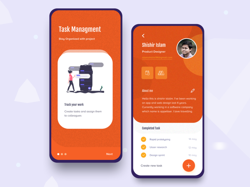 Task management app 2 mobile app design mobile orange 2020 2019 trend onboarding screen onboarding login filter task list design trend icon design illustration task colorful profile management app splash screen user profile task management app