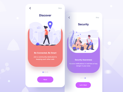 Onboarding for Safety App sign up page best ios design gradient currency exchange mobile app design 2019 tranding colourful gps location tracker app location tracker security app bank app ios illustration onboarding screen login page safety app splashscreen onboarding onboarding ui