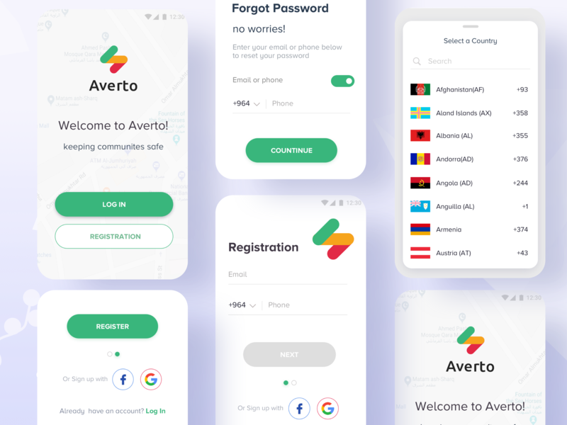 Login & Registration Process : Averto App logo design materialdesign community app flag real time app country code select phone number welcome page awarness averto app security app realtime security awareness android app alert app crowdfunding campaign safety app registration form registration process sign in login box