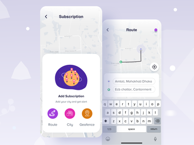 Subscriptions on a specific criteria creative agency creative design android app ios alert configuration page feeds booking app criteria gps location app rider rider app destination add subscription uber design map view route subscribe form subscription