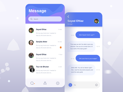 Chat Box vector 2019 trend inbox landing creative app design shape pattern blue nav android design ios online chat box user profile search bar application ui mobile app text app text messanger message app