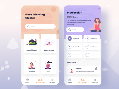 Daily Exercises Course - Freebie free design freebie concept user dashboard fitness education education health app cool colors vector minimalist ios android app audio app diet app meditation yoga illustration fitness app exercises exercises app