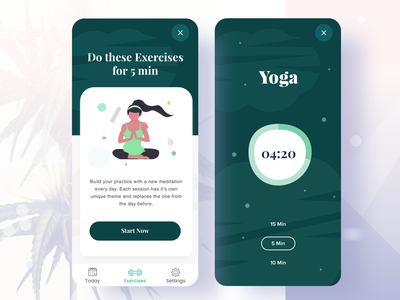 Daily Exercises Course 02 fitness landing page android app exercises website course app online courses exercises course meditation app landing page pagination app design illustrations timers gymnastic gym app health app exercises yoga fitness app education exercises app