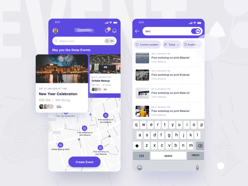Event & Carpooling app  I  Home  I  Search Result android ios app design 2020 design trend 2020 ios dashboard events car mapview card create event map event card homepage search search results event carpooling carpooling app event app