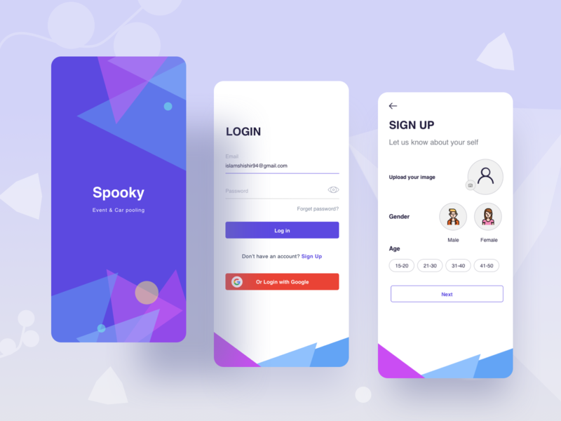 Event & Carpooling app joy share app android ui meeting meeting app ios party appointment ux illustration splash page event and management app registration process rant a car app carpooling app event app signup login splash