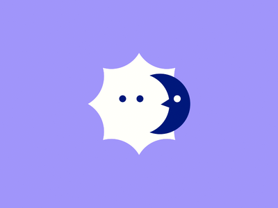 Sun and Moon cute graphic simple character night day icon logo moon sun