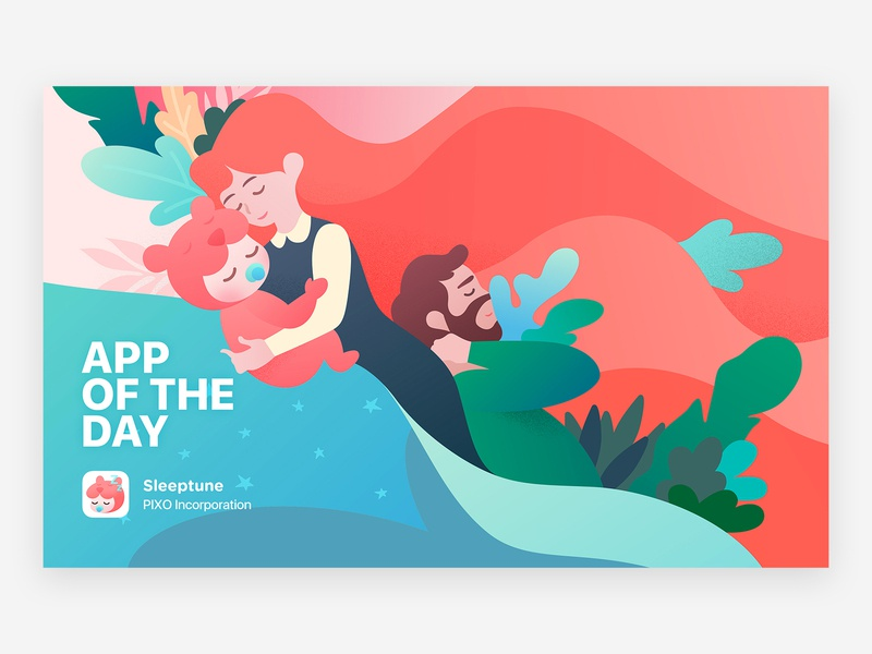 Sleeptune Featured Illustration Work character featured apple sleep love plants art illustration coral family father baby mother graphic