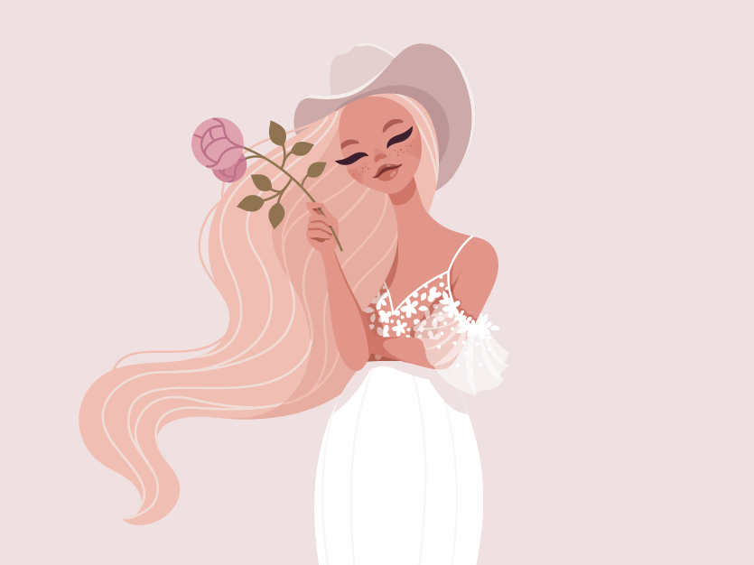 Chantelle woman bride vector art concept character illustration vector