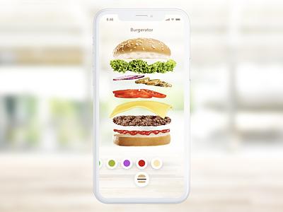 Burger Configurator prototype protopie fast food configurator menu burger design ios ux concept ui app