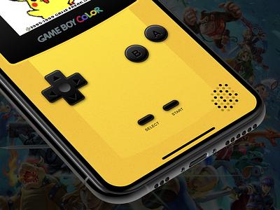 Gameboy Color for iOS consoles gaming emulator skeumorphism retro color gameboy nintendo design ios ux concept ui app