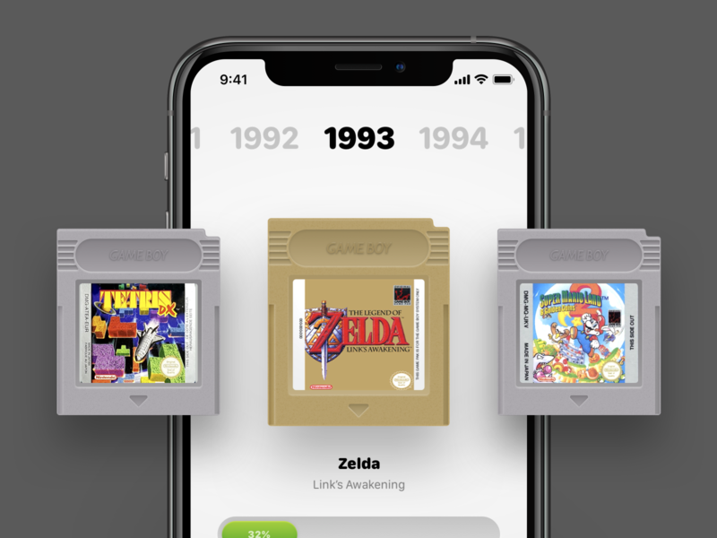 Gameboy Color (Games) for iOS tetris zelda catridge games emulator skeumorphism gaming retro consoles color gameboy nintendo design ios ux concept ui app