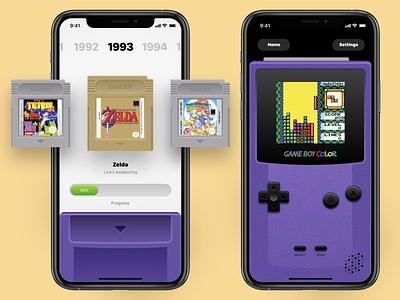 Gameboy iOS Rebound mario zelda tetris nostalgia nintendo rebound games skeumorphism gaming retro gameboy color gameboy design ios ux concept ui app
