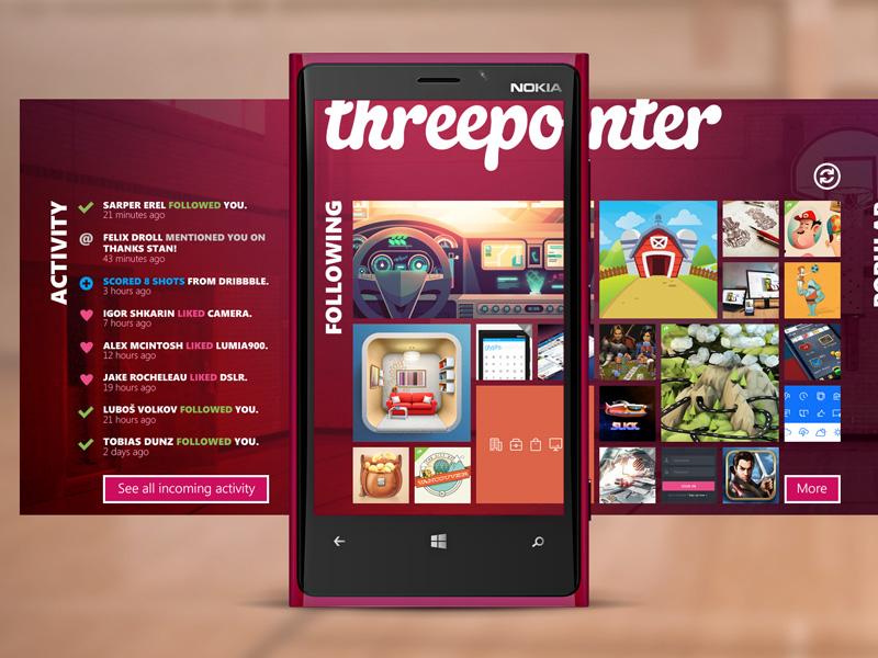 Threepointer - unofficial dribbble windows phone app dribbble windows phone metro nokia microsoft threepointer flat minimal app dev