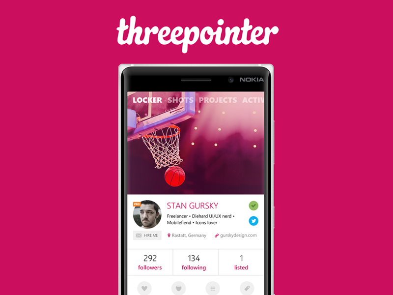 Threepointer 2.0 new profile preview update bestexperience ux windows threepointer ui dribbble app flat