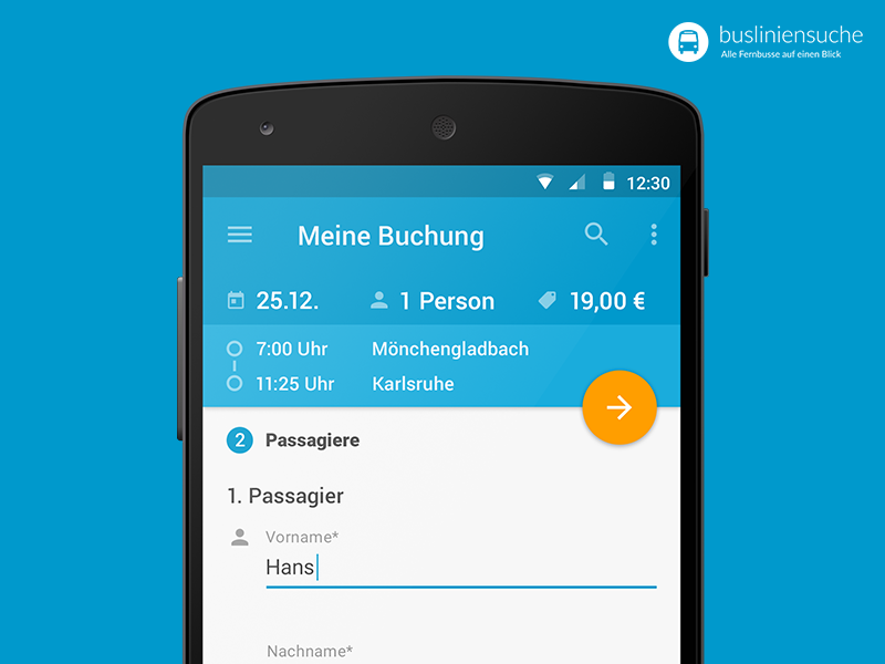 Busliniensuche.de - Android Booking (Passengers) screen passengers data booking search material busradar busliniensuche.de android redesign app flat