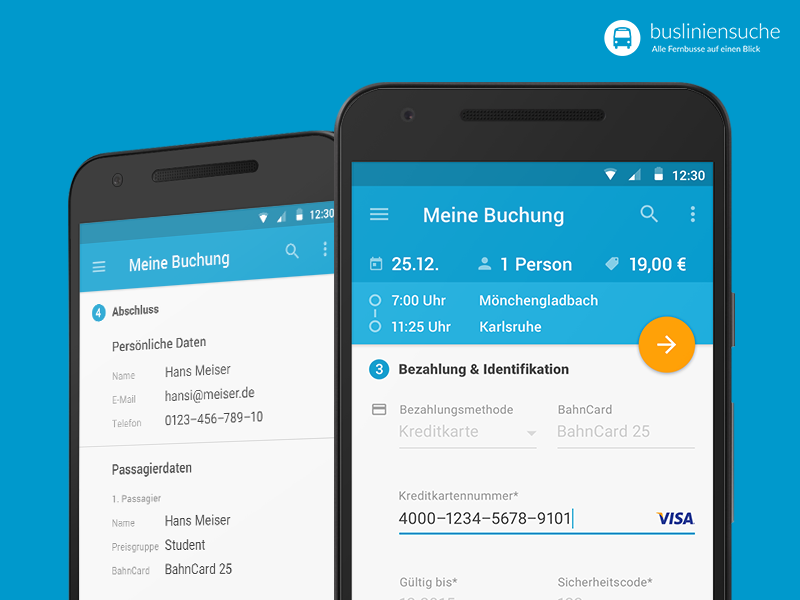 Busliniensuche.de - Android Booking (Payment & summary) screen summary payment data booking search material busradar busliniensuche.de android redesign app flat