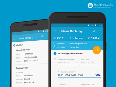 Busliniensuche.de - Android Booking (Payment & summary) screen