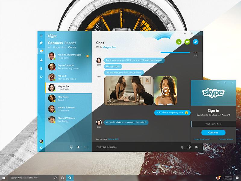 Skype chat fluent design combo shot 2x