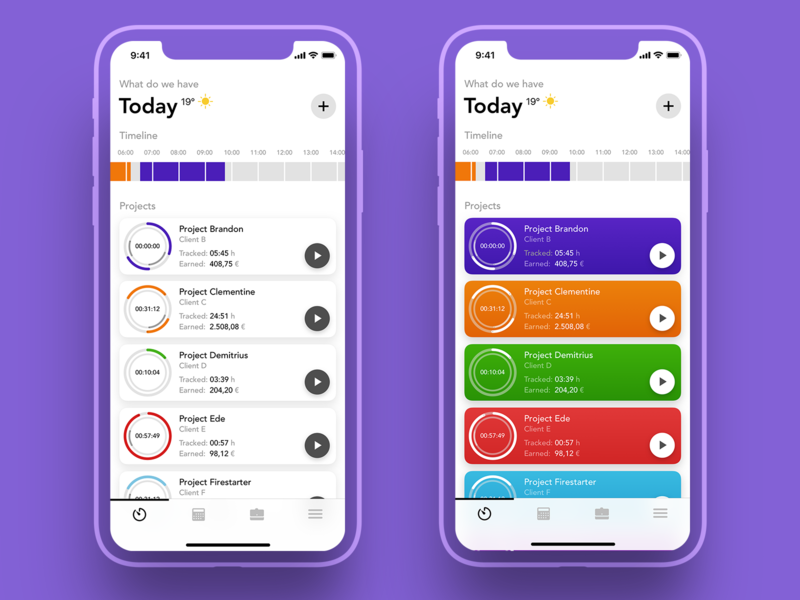 Time Tracker - Main Screen (Variants) bright colorful timeline cards time tracker timetracker design ux ios concept ui app