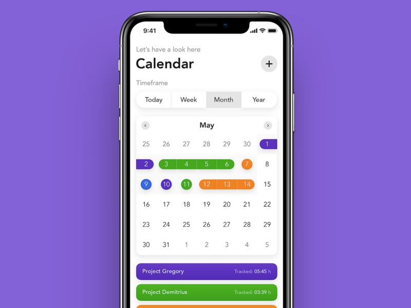 Time Tracker - Calendar apple numbers calendar tracker time timetracker design ux ios concept ui app
