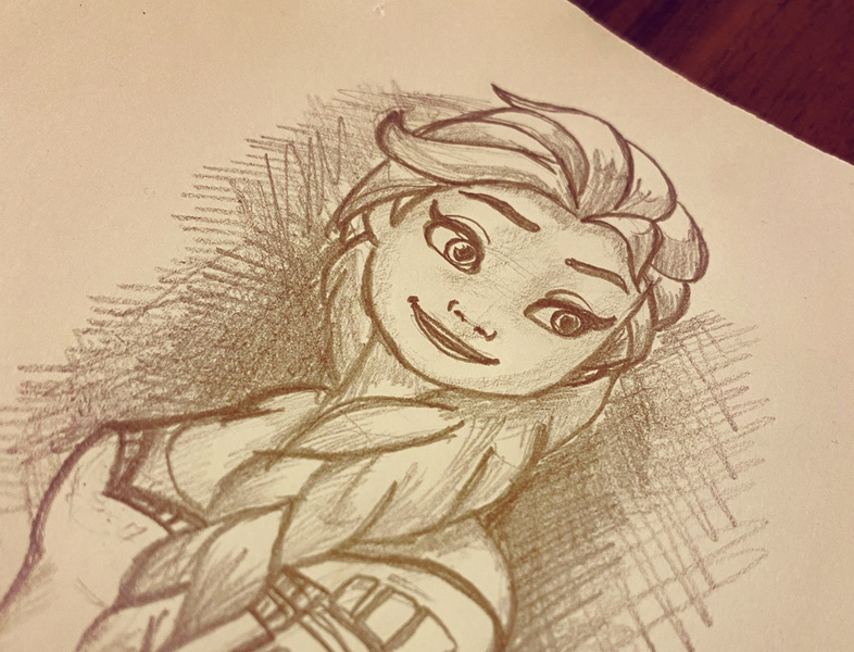 Elsa Sketch disney daughter paper black  white black pencil art pencil sketch anna elsa frozen