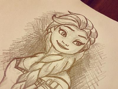 Elsa Sketch disney daughter paper black  white black pencil art pencil sketch anna elsa frozen