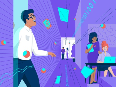 Character design office corporate office colours purple flat design illu character vector illustration