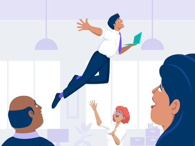 Office superhero flat illustration laptop office corporate people illustration flat design character vector illustration