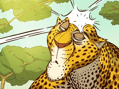 Leopard drawing childrens illustration cartoon picturebook graphic novel comics digital painting funny leopard character drawing illustration