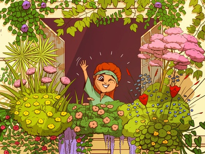 Children's Book Illustration bright fun graphic novel comic smile face happy children illustration picture book childrens book colourful flowers kid girl character design character illustration drawing