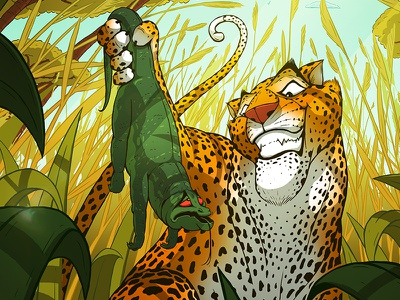 Children's Book Illustration graphic novel manga comic rendering colour story smile jungle leopard lizard picture book animal characters animals childrens book character design character drawing illustration