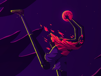 Streetball drawing nba pink streetball demons character design character illu dribbble basketball ball photoshop illustration