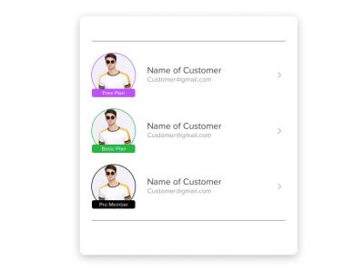 Customer Membership list mobile design ux ui