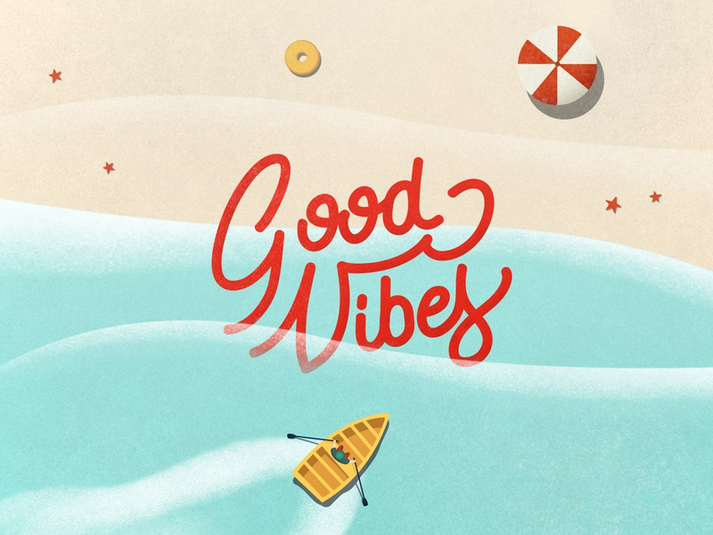 Good Vibes waves light illustration shade noise holiday summertime shore goodvibes sand sea summer typography brush lettering illustrator handwriting graphic design