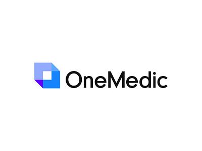 OneMedic logo proportions. software blue cubic cube branding logo onemedic