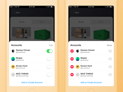 Creator App innovation packaging accounts force touch profile screen minimal app ux ui ios switch