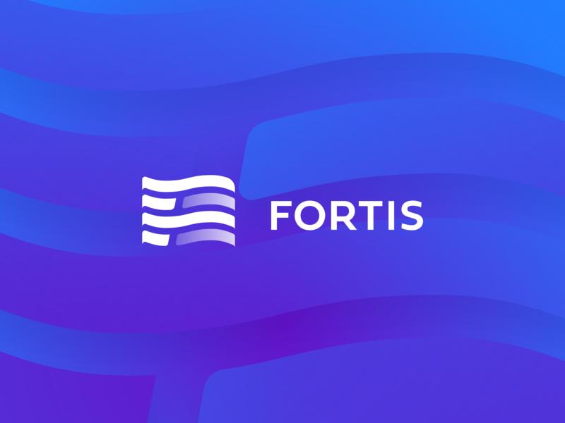 Fortis f letter shape flag investments development branding sign logo brand design