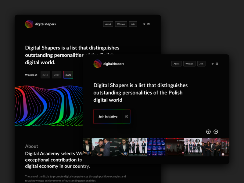 Digital Shapers landing page fold ui ux webdesign web gradient shapes award event black landing digital website