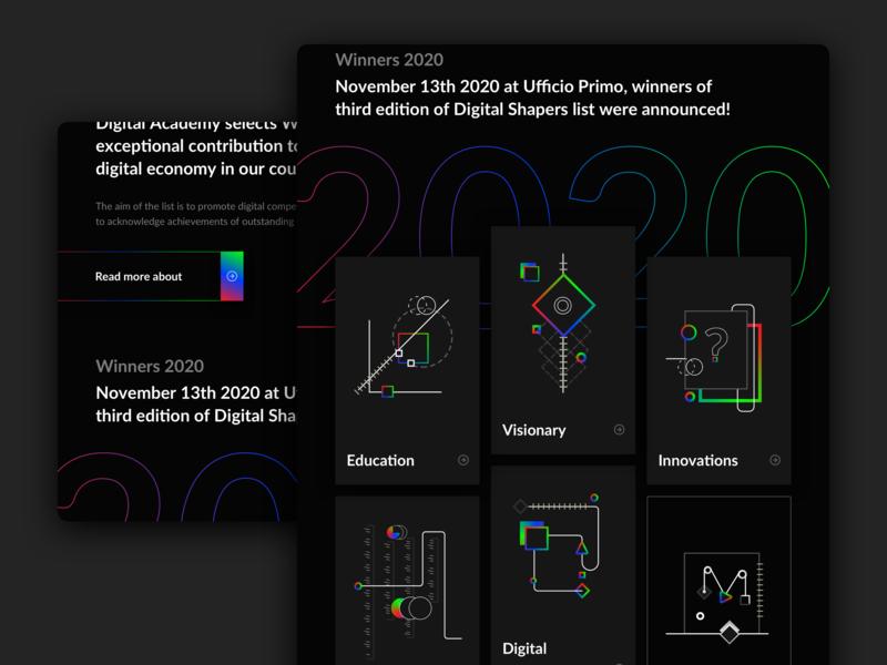 Digital Shapers landing page 2 website digital landing black event award shapes gradient web webdesign ux ui fold
