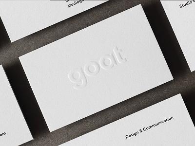Studio Goat simplicity minimal hotstamping embossing letterpress businesscards lettering typeface custom wordmark logo identity