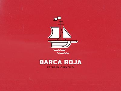 Barca Roja boat sail sea vector illustrator artwork isotype logo red
