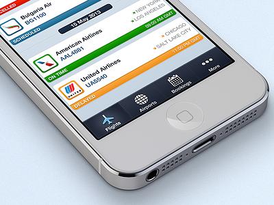 Flightapp Shot icons iphone ios ui navigation menu flight app blue button dashboard