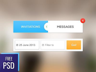 iOS UI elements iphone ios psd ui freebie filter tabs calendar button notification blur