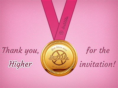 Dribbble Gold Medal medal gold medal olympic debut invitation draft thanks thank you